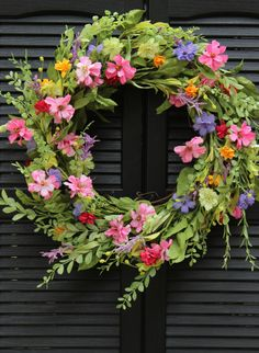 Large Floral Door Wreath - Flower Wreath - Spring Summer Door Decor Welcome the new season with this beautiful large wreath from Ever Blooming Originals ™ ! Moss colored faux foliage and an abundance