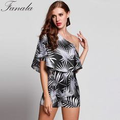 3caf1baa84a FANALA Summer Playsuit 2017 Fashion Ruffle Sleeve One Shoulder Off Rompers  Women Beach Romper Print Tops