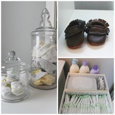 I love the apothecary jar storage for little tiny socks (that is all I really like).