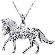 CGC Sterling Silver Horse with Celtic Knot Work Design Necklace ($41) ❤ liked on Polyvore featuring jewelry, necklaces, sterling silver pendant necklace, celtic knot pendant, sterling silver necklaces, sterling silver jewelry and pendants & necklaces