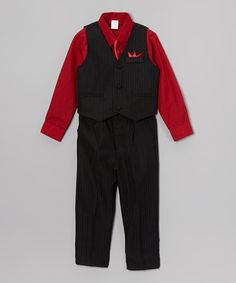 Red & Black Four-Piece Suit Set - Infant, Toddler & Boys by ClassyKidzShop on #zulily #ad *for your little man during the holidays