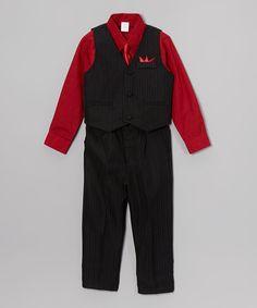 Look at this #zulilyfind! Red & Black Four-Piece Suit Set - Infant, Toddler & Boys #zulilyfinds