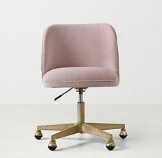 Alessa Velvet Desk Chair - Antiqued Brass