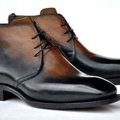 Mens black brown hand-burnished leather ankle boots