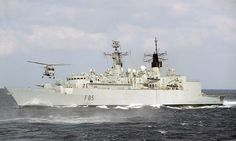HMS Cornwall's Lynx Helicopter Flies Over HMS Cumberland in the Indian Ocean by Defence Images, via Flickr