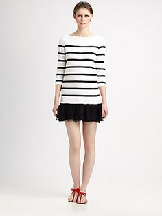 RED Valentino Striped Top/Lace-Skirt Dress, perfect for a resort or the summer!