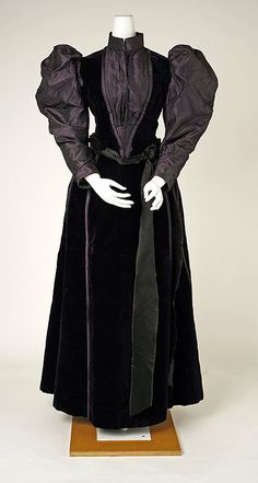 "(1 of 2 photos) 1891-1893 dress alone, American.  Label: ""Mrs. J.R. Hood, 240 West 48th Street, N. Y.""  Via MMA."