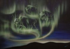 Sky Dance Series of Buffalos by Amy Keller-Rempp Art. by acrylic on canvas. Original sold, giclee prints and art cards available. Canadian Wildlife, Aboriginal Artists, Art Cards, Spirit Animal, Giclee Print, Northern Lights, Amy, Dance, Canvas