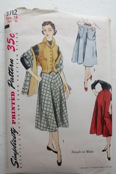 Vintage Simplicity 3712 1950s Pattern for by JoysinStitches