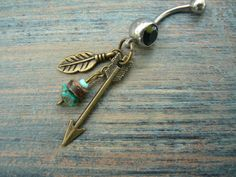 arrow and turquoise belly ring BRASS feathers by gildedingypsy