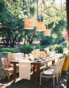 i like the mismatched chairs eclectic mismatched vintage seating surrounding the long wood farmhouse outdoor wedding table Outdoor Wedding Tables, Wedding Chairs, Outdoor Dining, Outdoor Weddings, Backyard Weddings, Reception Table, Wedding Receptions, Outdoor Seating, Mismatched Chairs