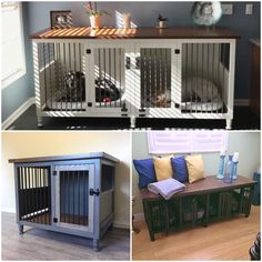 Our dog kennels are custom handcrafted solid hardwood furniture. Your best friend gets a comfortable and cozy room, you get a new functional piece of furniture to enjoy for many years to come. If our standard sizes do not fit your needs or if you have a custom request in mind, message us. We are happy to help! Each kennel is custom built made-to-order by the two of us.