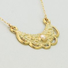 Gold Moon Jewelry Crescent Moon Necklace Ivory by aMatterOfChoice, $25.00