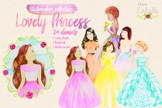Lovely Princess - watercolor clipart example image 1