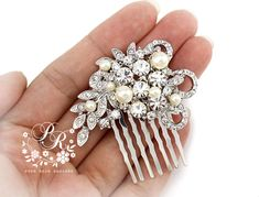 Wedding Hair Comb Swarovski Pearl Rhinestone by PureRainDesigns