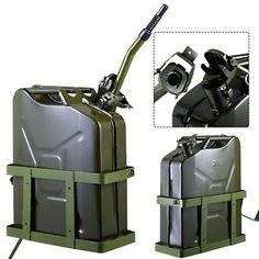 Goplus 5 Gallon 20L Gas Jerry Can Fuel Steel Tank Military Green w Holder New | eBay