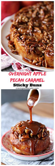 Overnight Apple Pecan Caramel Sticky Buns from cravingsofalunatic.com- This sticky bun recipe perfectly combines apples, pecans and caramel for the most amazing breakfast you will ever eat. (@CravingsLunatic) Caramel Recipes, Apple Recipes, Fall Recipes, Sweet Recipes, Baking Recipes, Breakfast Dishes, Breakfast Recipes, Breakfast Ideas, Fun Desserts