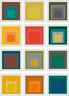 Josef Albers, SP, 1967, the complete set of 12 screen prints in colors, on Schöllers Hammer Board, with full margins, the sheets loose (as issued) all contained in the original black vinyl-covered portfolio, 61 x 61 cm, Edition 43/125