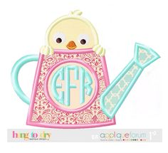 Hang to Dry Applique - Chick In Watering Can, $3.99 (http://www.hangtodryapplique.com/chick-in-watering-can/)