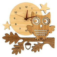 My Sweet Muffin - Night Owl Bamboo Wall Clock ❤ liked on Polyvore featuring home, home decor, clocks, backgrounds, decor, fillers, brown, wall-clock, owl home accessories and wall home decor