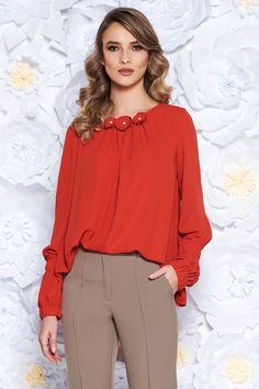 Bluza dama caramiziu Ruffle Blouse, Interior, Floral, Tops, Women, Fashion, Moda, Women's, Fashion Styles