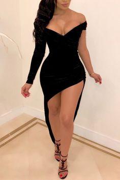 Mini black dress - Off Shoulder Asymmetrical Party Dress,homecoming – Mini black dress Vestidos Fashion, Fashion Dresses, Fashion Clothes, Sexy Outfits, Sexy Dresses, Bandage Dresses, Mini Dresses, Club Outfits, Cheap Dresses