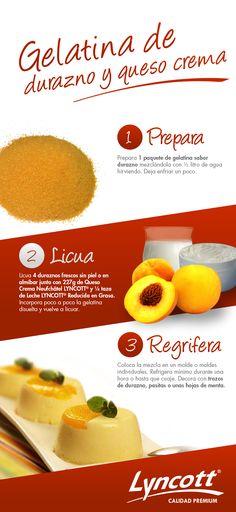 Gelatina de durazno y queso crema. #postre #gelatina
