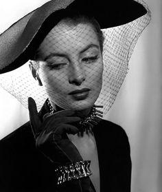 model, capucine, in a veiled hat + gloves | 1950s | #vintage #1950s #fashion