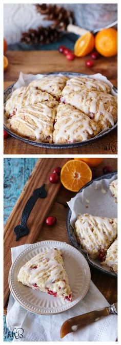 Tender cranberry orange scones are full of fruity, sweet, and tart cranberry flavor and topped with fresh squeezed orange juice glaze. - My WordPress Website Fall Dessert Recipes, Brunch Recipes, Holiday Recipes, Delicious Desserts, Breakfast Recipes, Yummy Food, Fall Recipes, Dessert Food, Breakfast Items