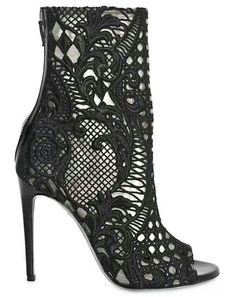 99abad2be17b Balmain Guipure Lace Open Toe Boots in Black - Lyst