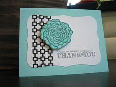Thank You Card Aqua Floral. $3.00, via Etsy.