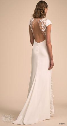 bhldn 2018 bridal cap sleeves v neck elegant simple romantic bohemian  sheath wedding dress keyhole back 988cc0af3f