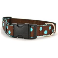 """Small Turquoise & Brown Burke Dot Dog Collar: 1"""" wide, adjusts 10-14"""". This eye-catching collar is an essential for any season!  Large navajo blue dots woven into a rich chocolate background.  Ribbon is set on a durable chocolate nylon webbing.  Collar is 1"""" wide.  Collars are adjustable, have a convenient quick release buckle, and metal D-ring hook for ID tags or leash attachment.  This design is available in S (10-14""""), M (14-18""""), L (18-22""""), and XL (22-26"""") collar sizes.  For a unique and p Blue Chocolate, Blue Dots, Navajo, Collars, Ribbon, Turquoise, Belt, Tags, Ring"""
