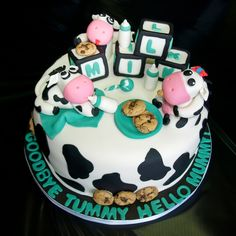 "Milk And Cookies Baby Shower! Made this cake for a ""milk and cookies"" themed bab. - Milk And Cookies Baby Shower! Made this cake for a ""milk and cookies"" themed baby shower. I mad - Cow Baby Showers, Baby Girl Shower Themes, Baby Shower Cakes, Baby Boy Shower, Cow Cakes, Cupcake Cakes, Cake Cookies, Cow Birthday Parties, Baby Cows"