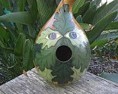 Hand Painted Gourd Bird house - too cool
