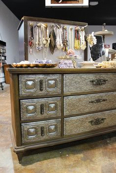 Use lace as a stencil to add a unique look a dresser.  I saw this on The Nate Show.