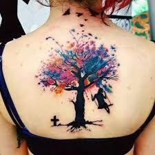 Billedresultat For Watercolor Tree Of Life Tattoo Neck Tattoo Watercolor Tattoo Tree Trendy Tattoos