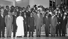 Emperor Haile Selassie of Ethiopia, poses with African heads of state in Addis Ababa in May 1963 at the end of their summit. (AP Photo)  #Ghana #GoldCoastGhana #Africa #AU