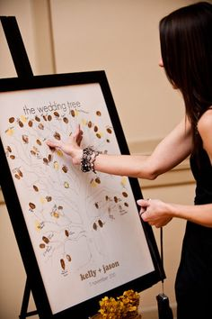 Finger print guestbook - cute idea, would just have to have wet wipes or something for all the guests :)