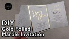 Modern Gold Foiled Marble Pocket Invitation | Wedding Invitations DIY | ...