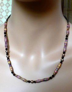 Rainbow Striped Necklace Mocha Swarovski Crystals Handmade Paper Beads Gold Pearls // SRAJD #etsybot #jewelry