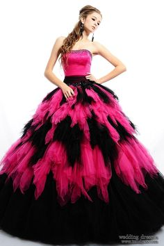 Black n Pink floor length poofy dress! It is safe to assume any dresses I pin I would wear with sleeves.