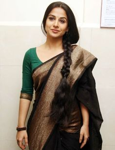 Vidya Balan in a classic black saree by Sabyasachi She looks so stunning! Indian Dresses, Indian Outfits, Look Fashion, Indian Fashion, Classy Fashion, Trendy Fashion, Fashion Ideas, Indische Sarees, Black Saree