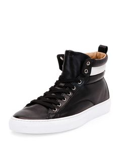 Lambskin High-Top Sneaker, Black by Bally at Neiman Marcus. Prada Sneakers, High Top Sneakers, Leather High Tops, Embossed Logo, Lambskin Leather, Neiman Marcus, Footwear, Shoes, Collection