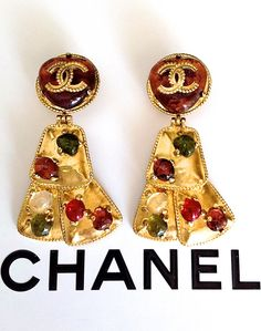Chanel chunky oversized antique look Gripoix glass earrings from 1997.VINTAGE-FRANCE-DE-COUTURE by sincere_international SOLD