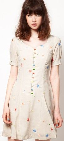 Cream Puffsleeved Button-Up A-Line Dress with Multicolored Stars