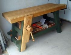 Moravian Workbench by Ron G. -- Homemade Moravian workbench constructed from yellow pine and surplus oak. http://www.homemadetools.net/homemade-moravian-workbench