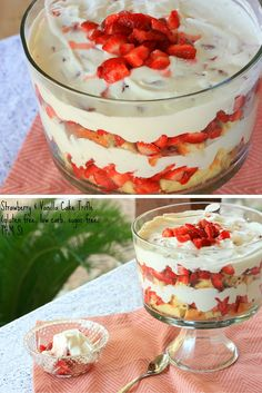 Strawberry & Vanilla Cake Trifle- THM S, gluten free, sugar free, nut free, and low carb.