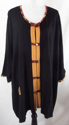 MIB MAKING IT BIG J 5X 6X Black Brown Asian Button down Front Rayon Shirt Top #MibMakingitBig #ButtonDownShirt #Casual