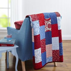 Make a quick-to-assemble patriotic picnic throw or cozy cottage twin-size bed  quilt from your favorite scrappy assortment of red, white, and blue  prints.Fabrics are from the Symphony of Blues and Rhapsody of Reds  collections by Jenni Calo for Connecting Threads [1].   [1] http://connectingthreads.com